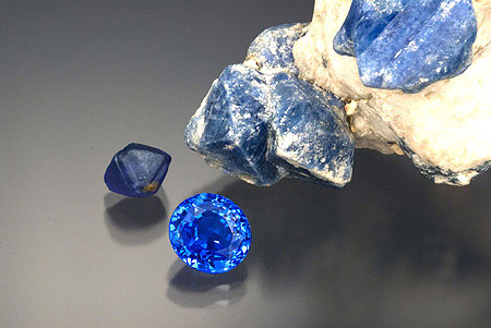 Cobalt Spinel.  On Matrix, Water Worn, Cut