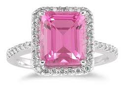 Topaz, Gem, Emerald Cut Pink with Diamonds