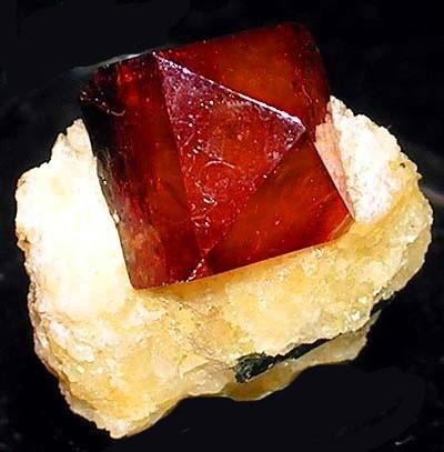 Zircon Crystal on Calcite, Pakistan