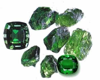 Tsavorite-Garnet.  Uncut and Cut Gemstones