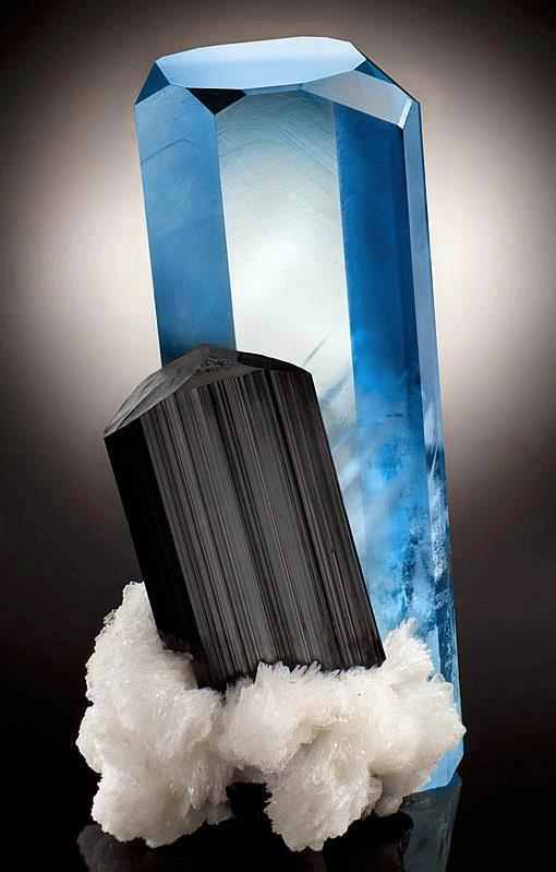 Beryl-Aquamarine, Tourmaline.  Calcite