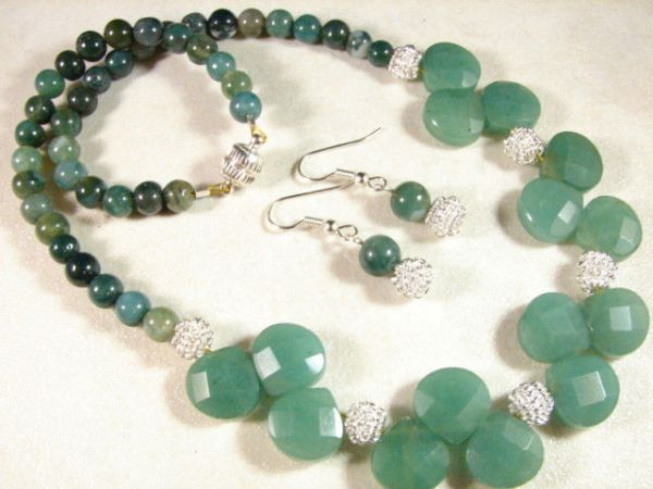 Aventurine-Agate Gemstone necklace and earing.  $15. ebay