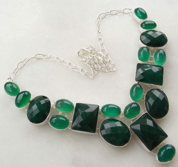 Aventurine and Emerald Gemstone Silver Jewelry.  ebay