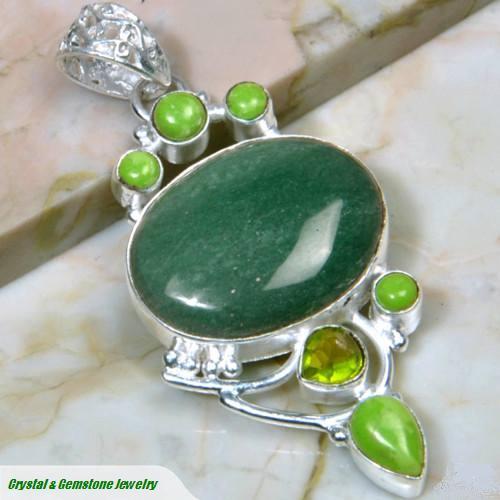 Aventurine-Gaspeite-Peridot_Silver_pendant. $90.