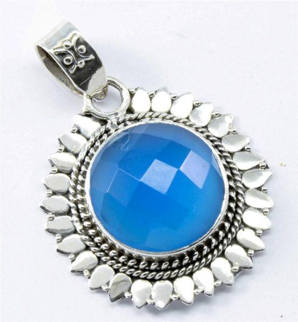 Blue Chalcedony 925 Silver Pendant. $11.  ebay