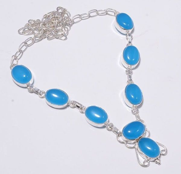 Blue Chalcedony Sterling Silver Necklace. $5.  ebay