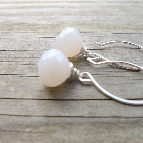 White Chalcedony Drop Earrings