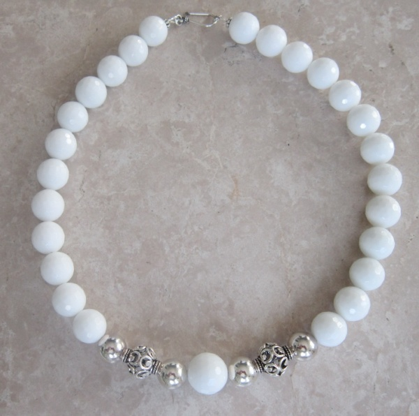 White Chalcedony, Sterling Silver Rounds.  Caroline Kate Designs