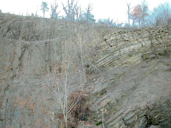 10.  The Junction fault, dividing the Allegheny Plateau and the Appalachian Mountains in Pennsylvania, United States