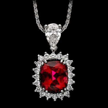 2.  Rubelite Tourmaline, diamonds- pendant. unknown