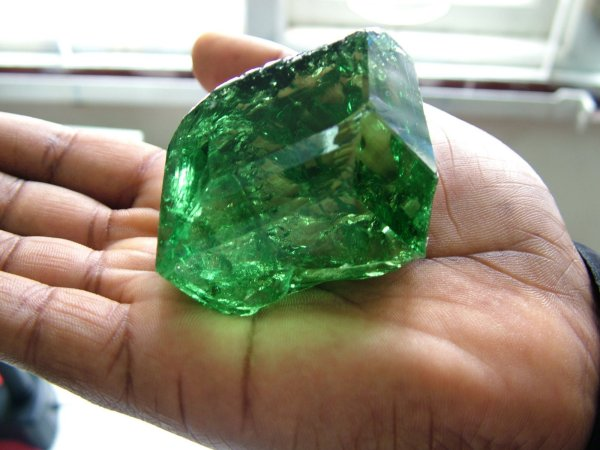 11.  Tsavorite-Garnet Crystal, 185 gms, 925 carats, (World's Largest) Arushra Tanzania. by unknown