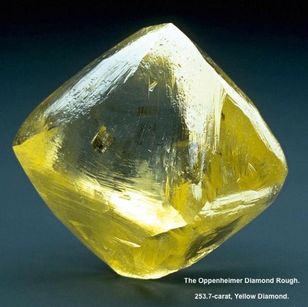 3.  Diamond Crystal, Yellow - Oppenheimer, 253.7 c.  Dutoitspan Mine, Kimberley , South Africa. Smithsonian Museum of Natural History,