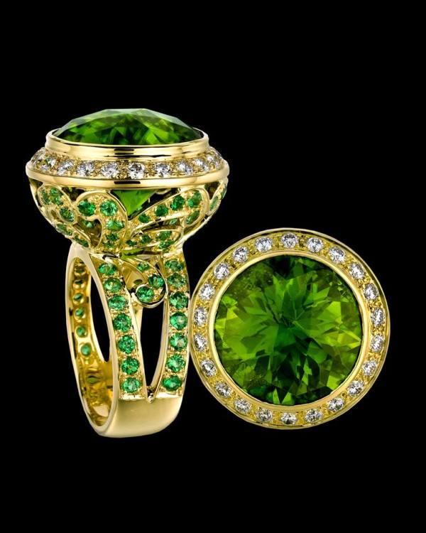 7.  Olivine, Periodot and Emerald Diamond Ring. by Paula Crevosha