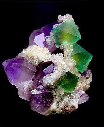 Fluorite, Green with Amethysts.  from Freundeskreis   Mineralogisches Museum Marburg e.V.