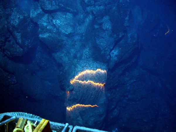 Submarine Volcano. Bands of glowing magma. West Mata, Somoa. May 2009. NOAANational Science Foundation