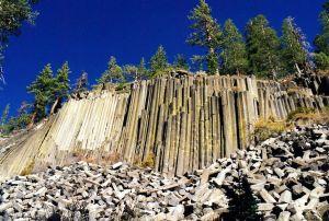 Columnar Basalt.  Devils Postpile NM.  Mammothe Lakes, CA.  Oct 1997. Cooper.ch
