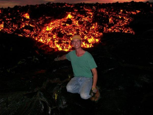 Lava. Aa. Philip Maise on Kilauea Volcano Hawaii. 2008. by Pbmaise