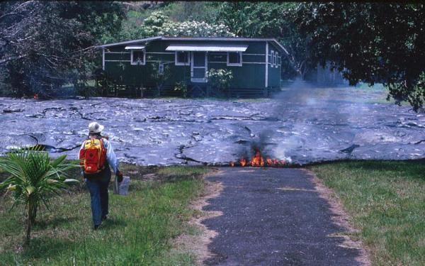Lava. Pahoehoe. Kalapana house destroyed by lava. 1990. USGS
