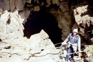 Lava Tube Entrance, Newberry Crater, OR, R. McDaniel. 05-2003. by P. McDaniel