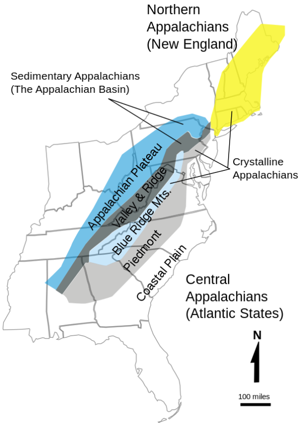 Appalachian Mt. Map. 2009.  USGS