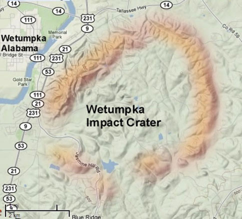 Wetumpka Crater, Topography. atmorenews.com