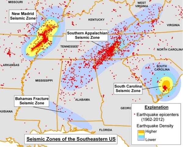1.  SE_USA- Seismic Zones. alabamaquake.com