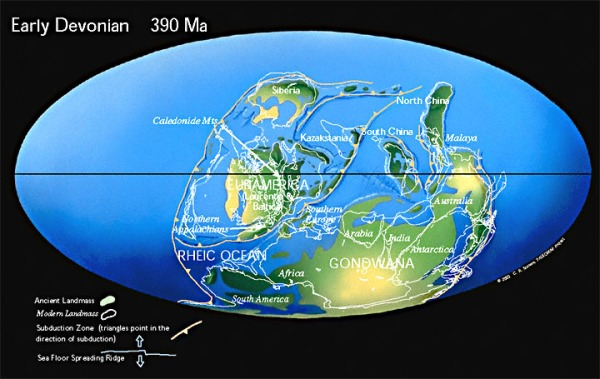 Devonian, Late, 390 MYA Map. www.scoles