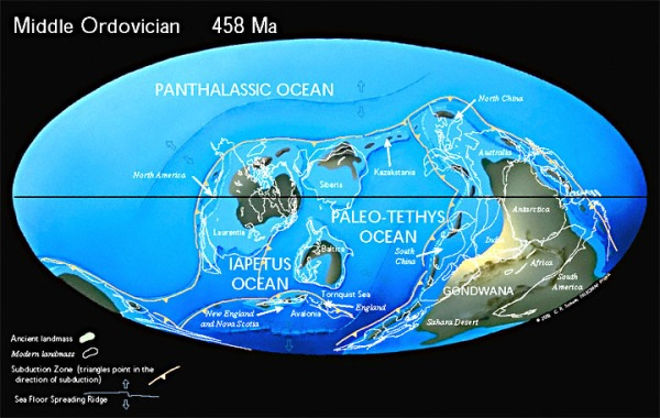 Ordivician-Middle, Continents and Oceans.  www.scotease.com