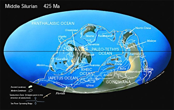 Silurian World Map. geologicatime.wikispaces.com