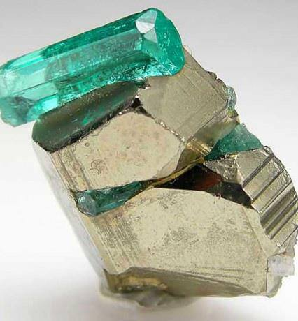 2. Beryl-Emerald Crystal on Pyrite. Colombia. by unknown