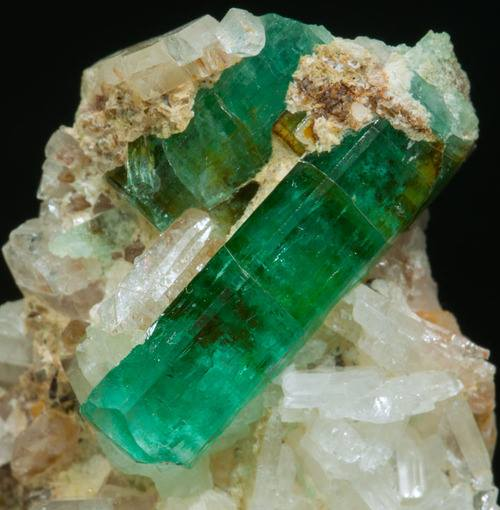 3. Emerald and Albite, Columbia. by unknown